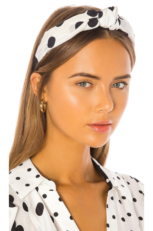 Tanya Taylor Printed Headband in Polka Dot & Large White