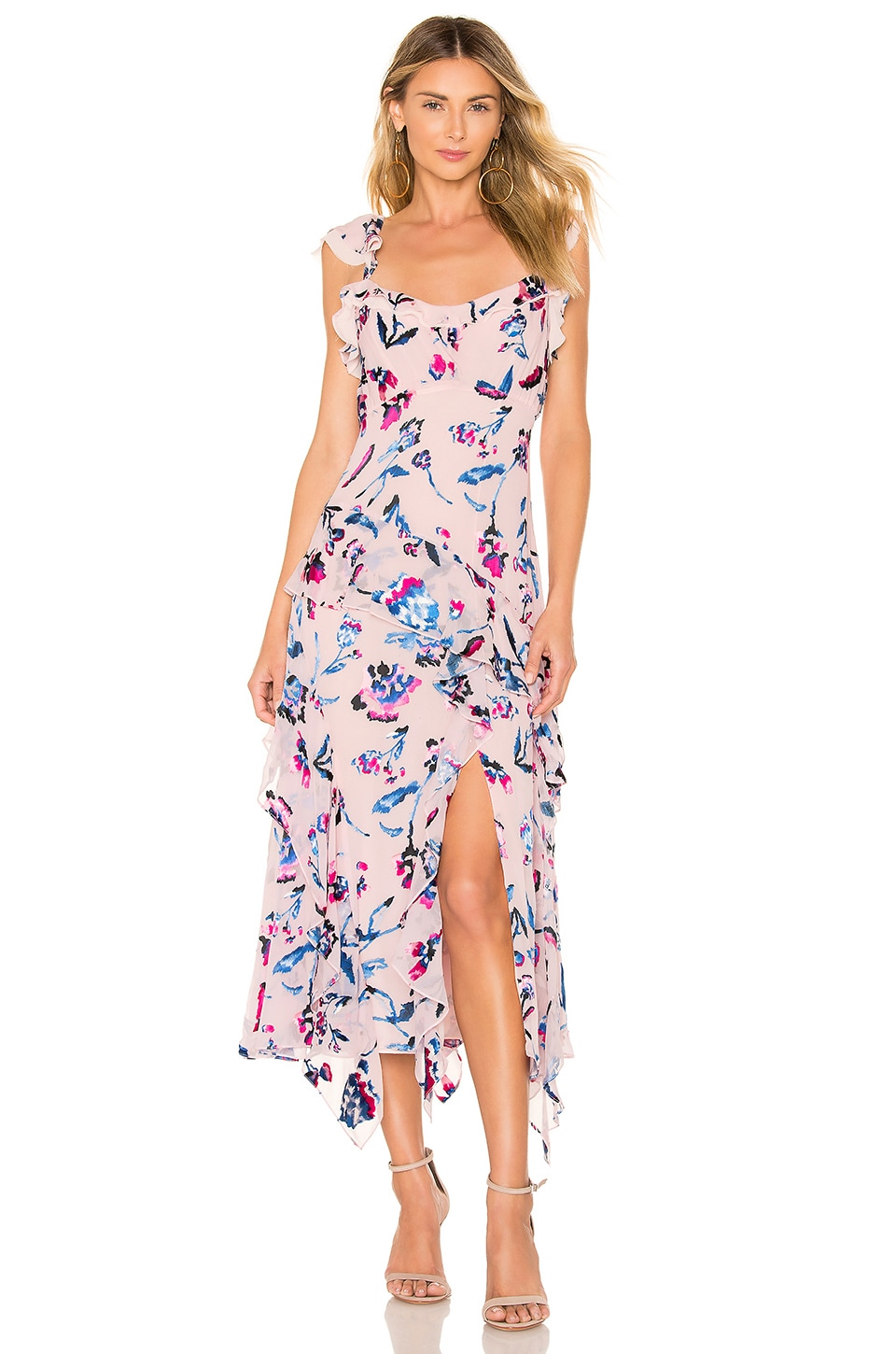 Tanya Taylor Violeta Tie Dye Floral Dress in Pink