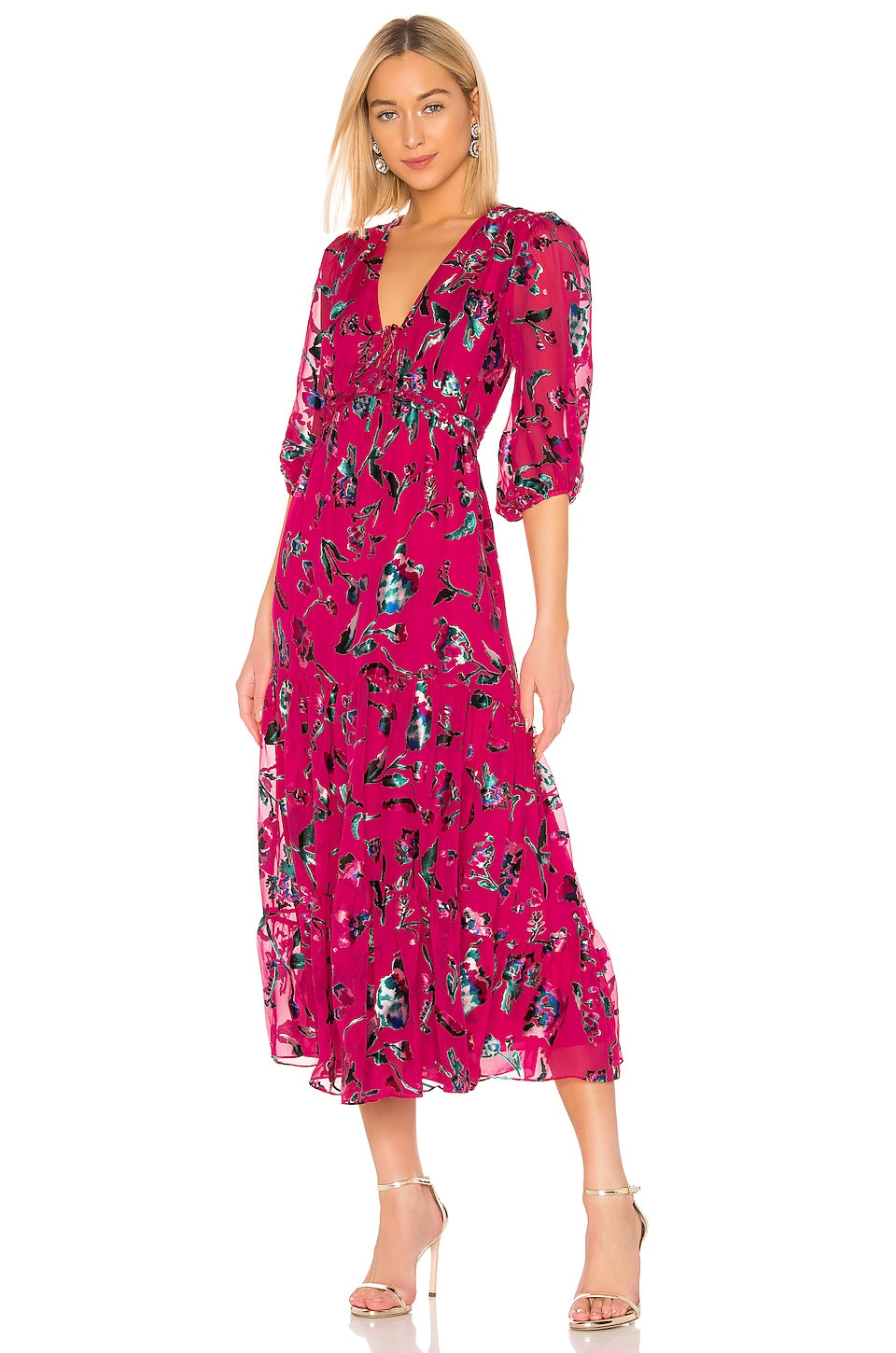 Tanya Taylor Dulce Floral Dress in Hot Pink