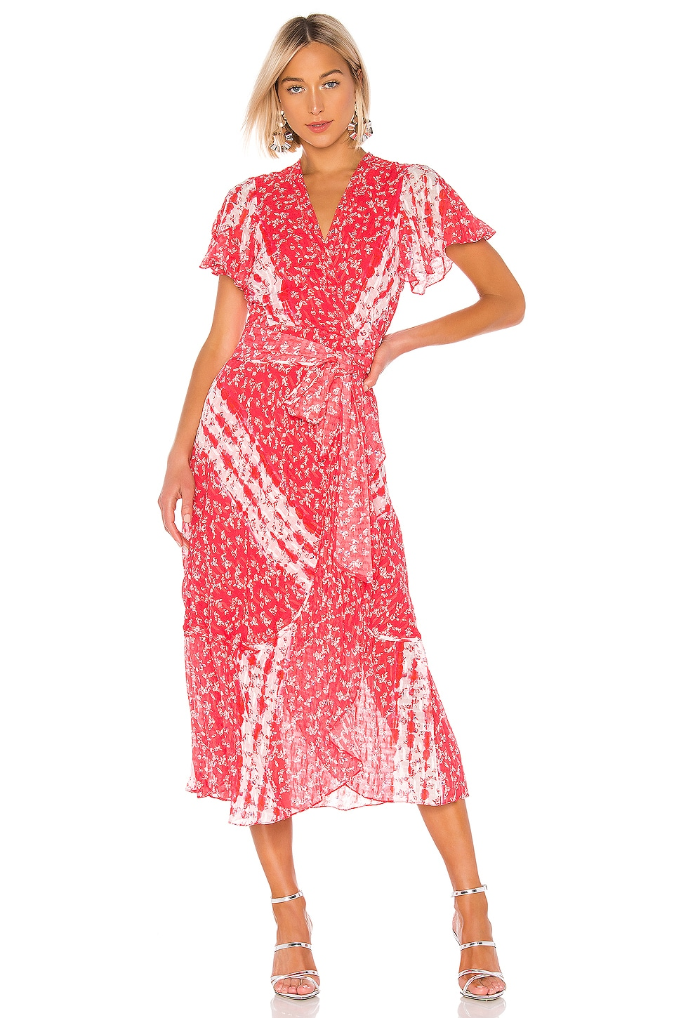 Tanya Taylor New Blaire Dress in Ditsy Floral Stripe Guava