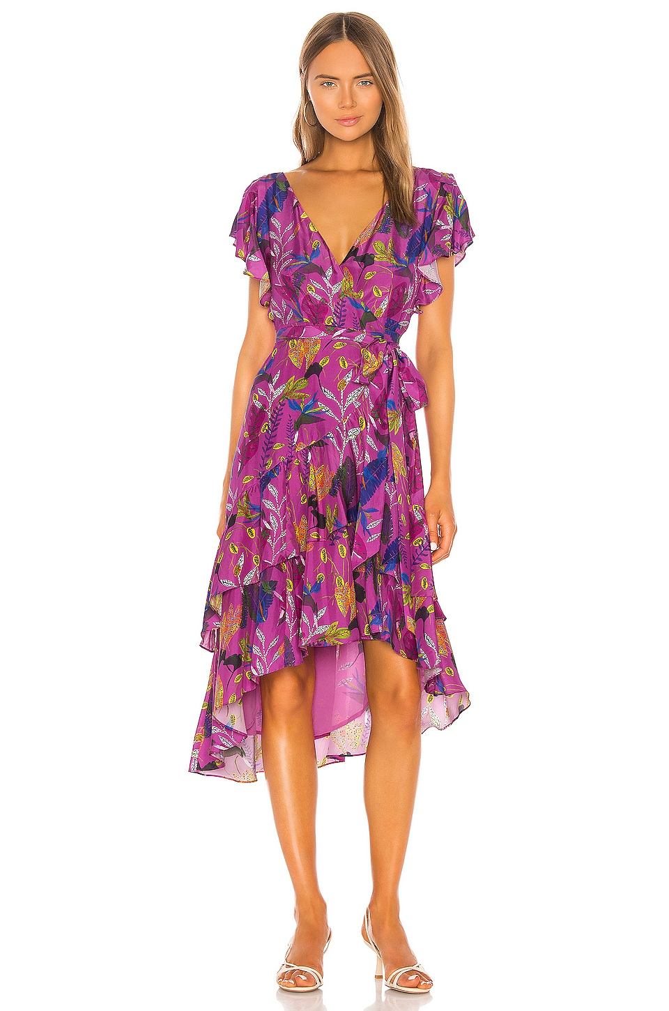Tanya Taylor Dita Dress in Jungle Leaves & Purple