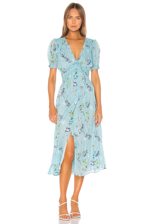 Tanya Taylor Alfonsa Dress in Pencil Floral & Seafoam