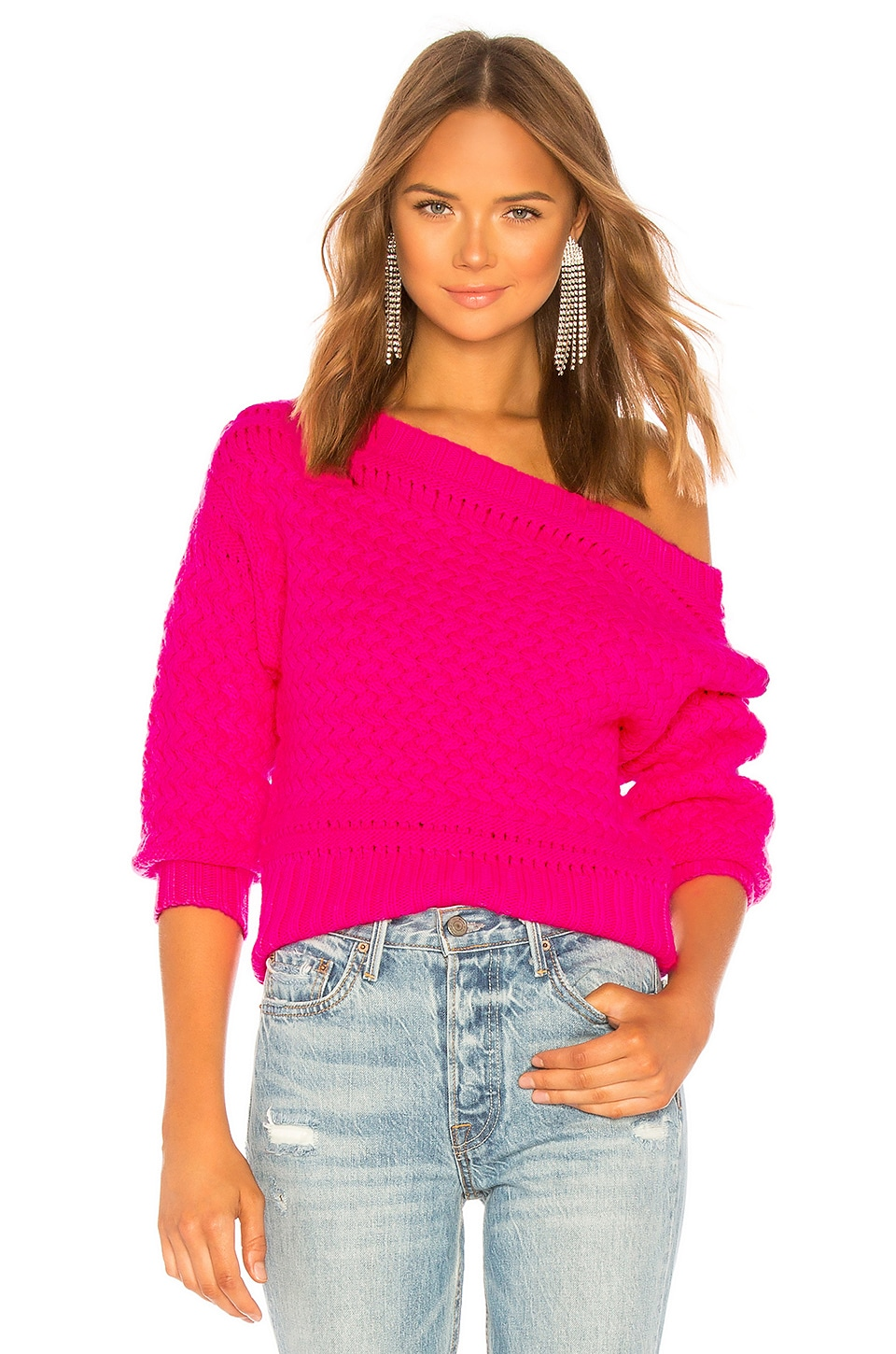 Tanya Taylor TANYA TAYLOR MARIE SWEATER IN HOT PINK