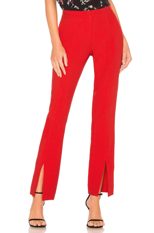 Tanya Taylor Satin Back Crepe Delta Pant in Red