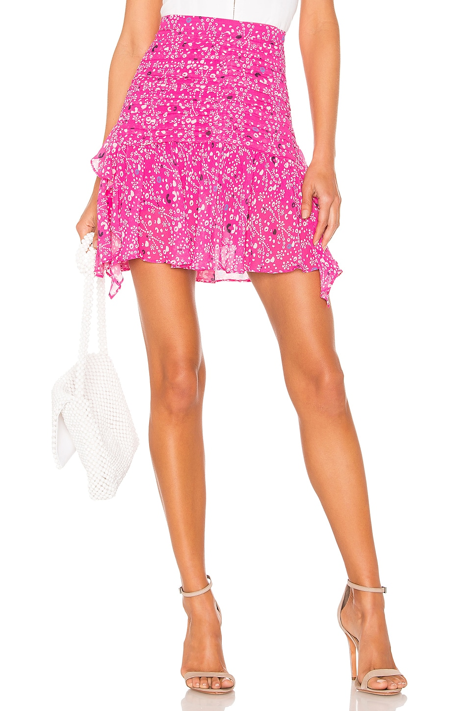 Tanya Taylor Abby Skirt in Hot Pink