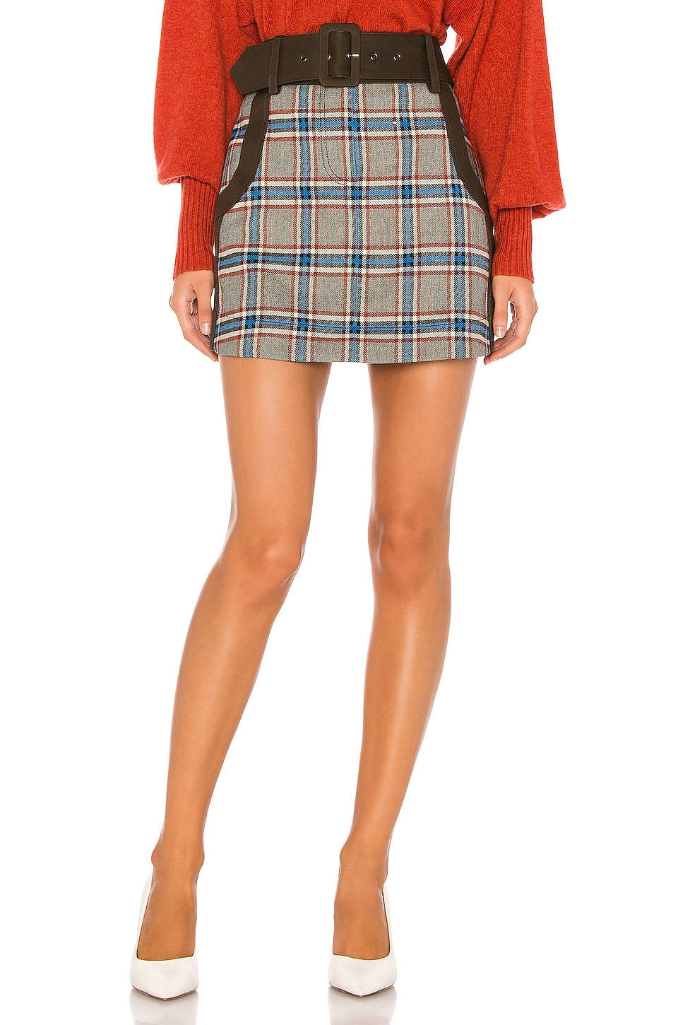 Tanya Taylor Chloe Skirt in Grey Plaid
