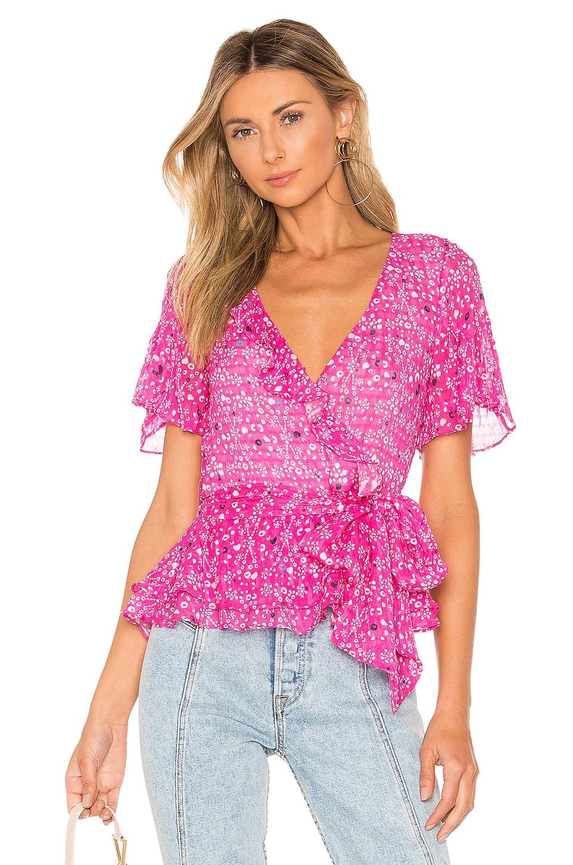Tanya Taylor Bianka Ikat Mosaic Top en Hot Pink