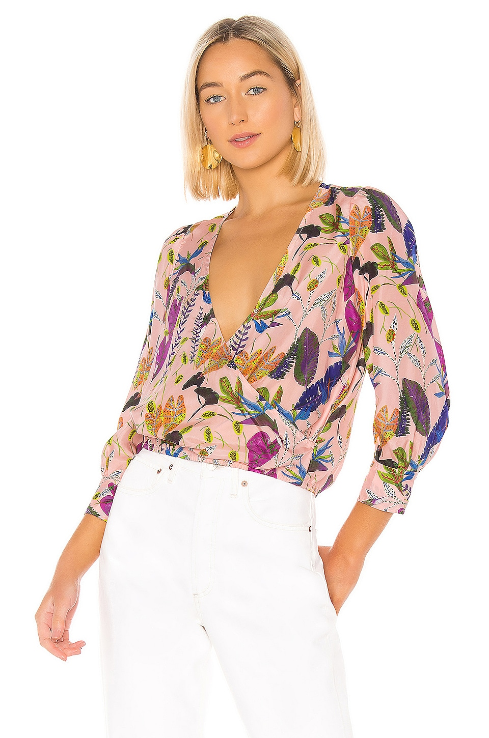 Tanya Taylor Gylda Blouse in Jungle Leaves & Nude