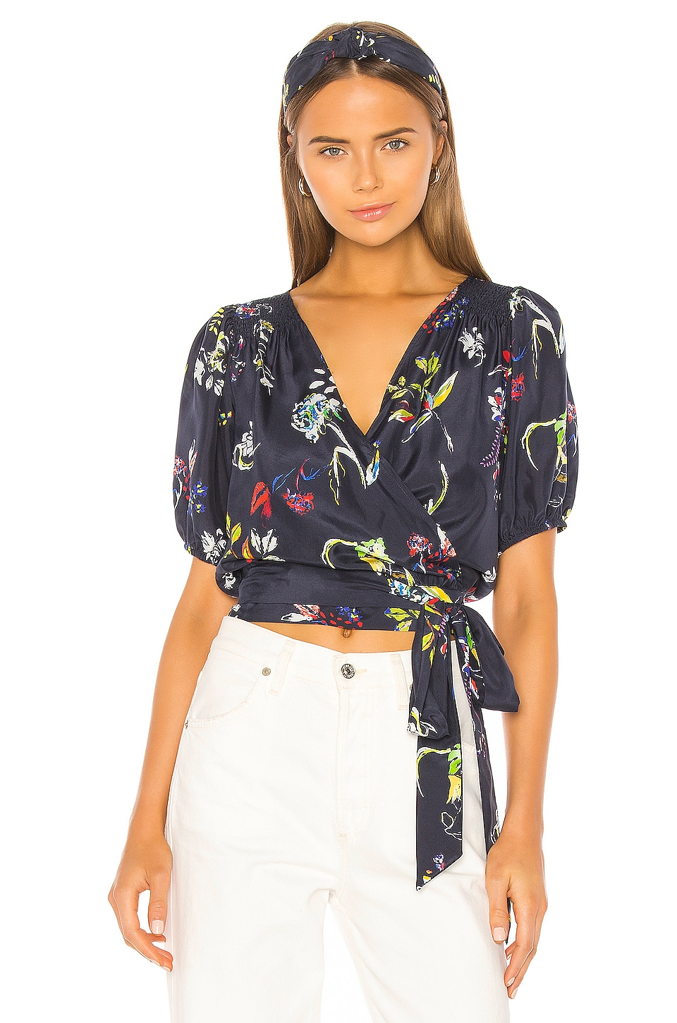 Tanya Taylor Leiria Blouse in Pencil Floral & Navy