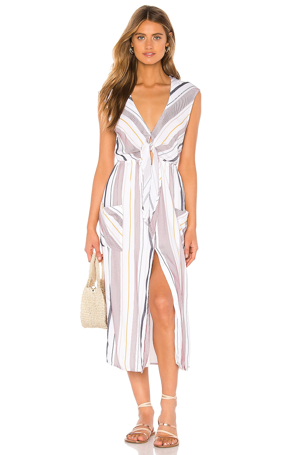 TAVIK Swimwear Jude Dress in White & Berry Stripe