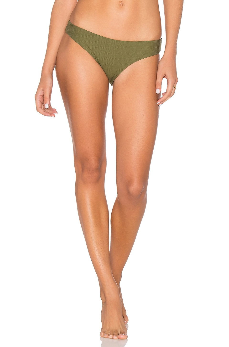 TAVIK Swimwear Ali Moderate Bikini Bottoms in Olive Ribbed