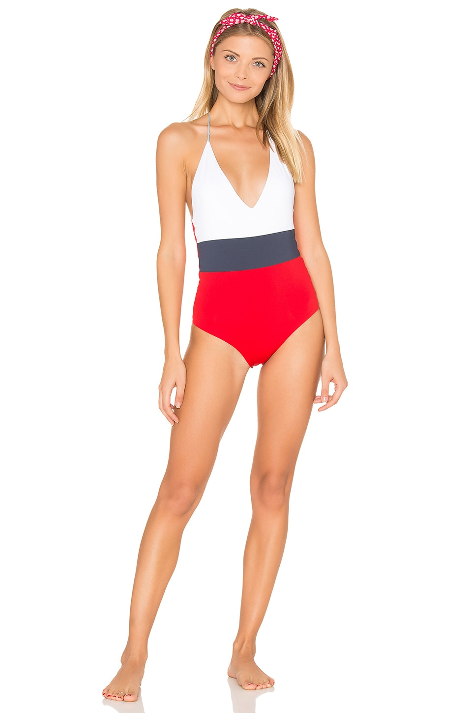 TAVIK Swimwear Chase One Piece Swimsuit in White Color Block