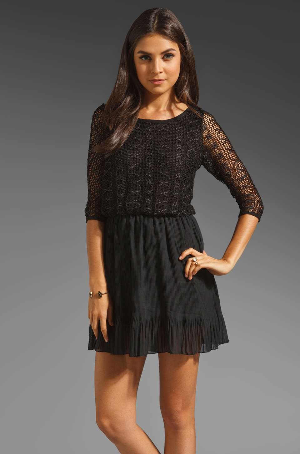 T-Bags LosAngeles Lace Mini Dress in Black