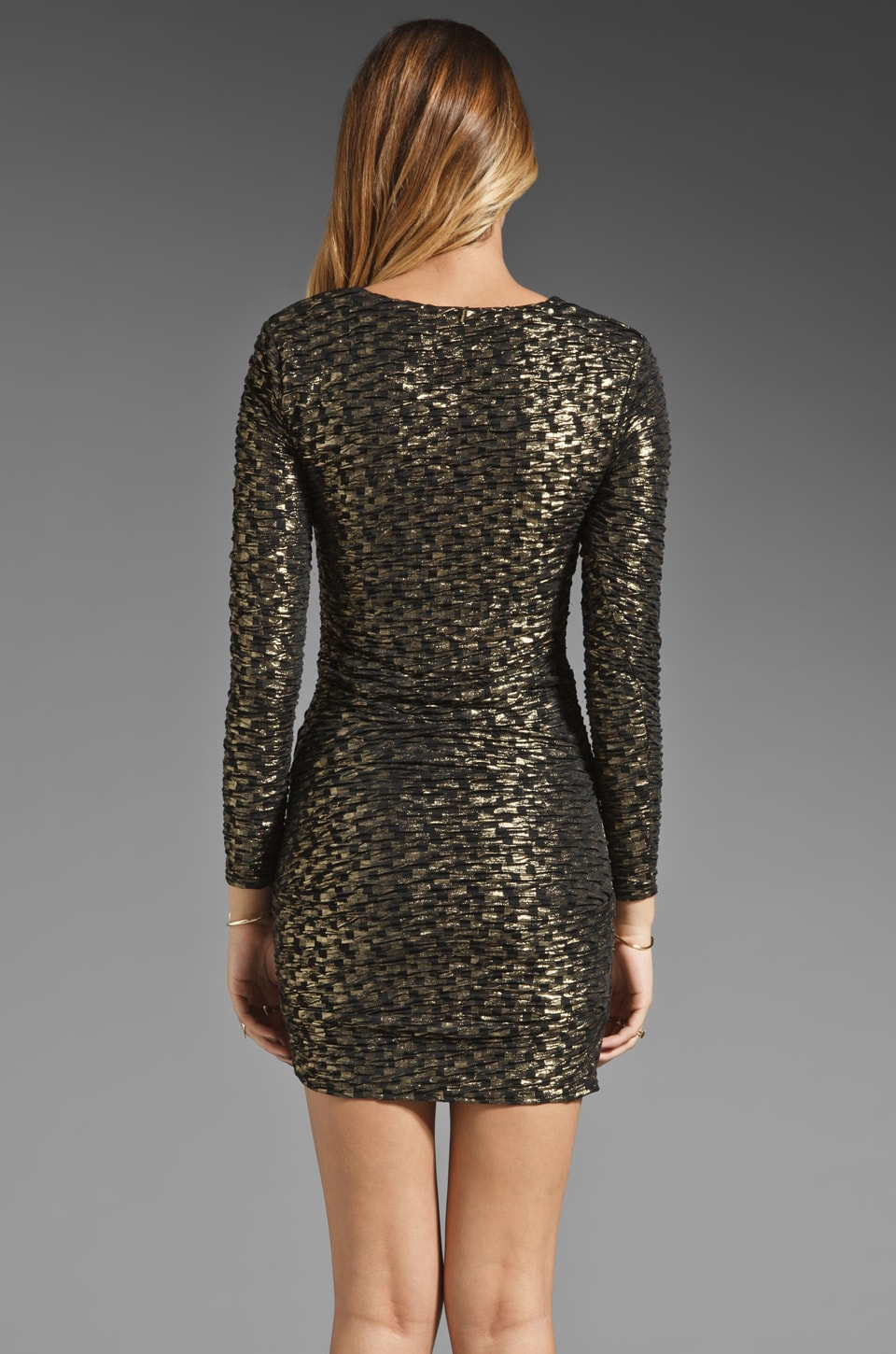 T-Bags LosAngeles Long Sleeve Mini Dress in Black/Gold