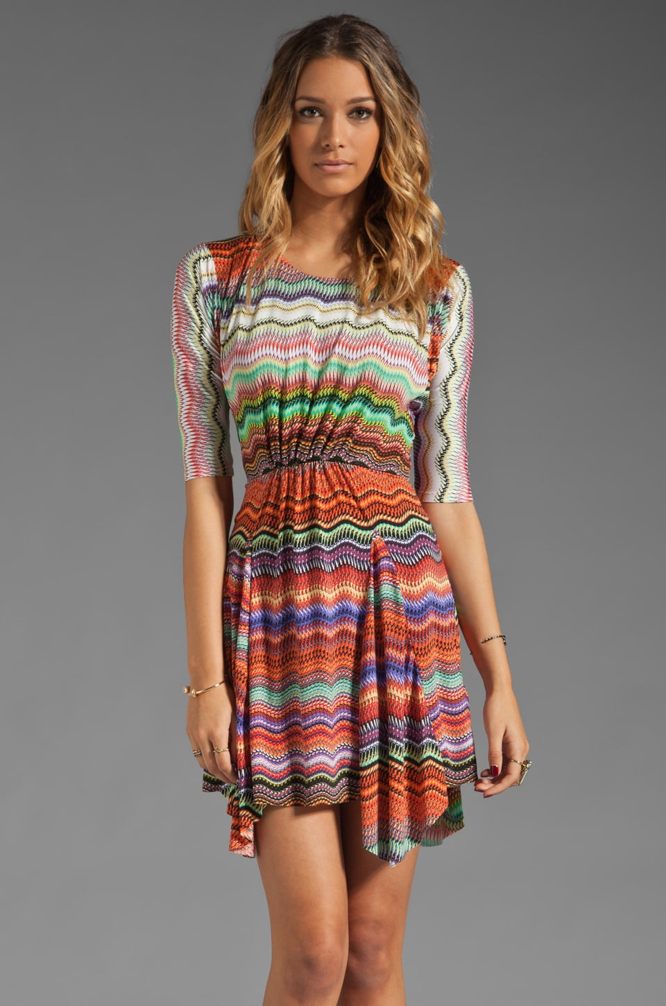 T-Bags LosAngeles 3/4 Sleeve Mini Dress in Zig Zag Multi