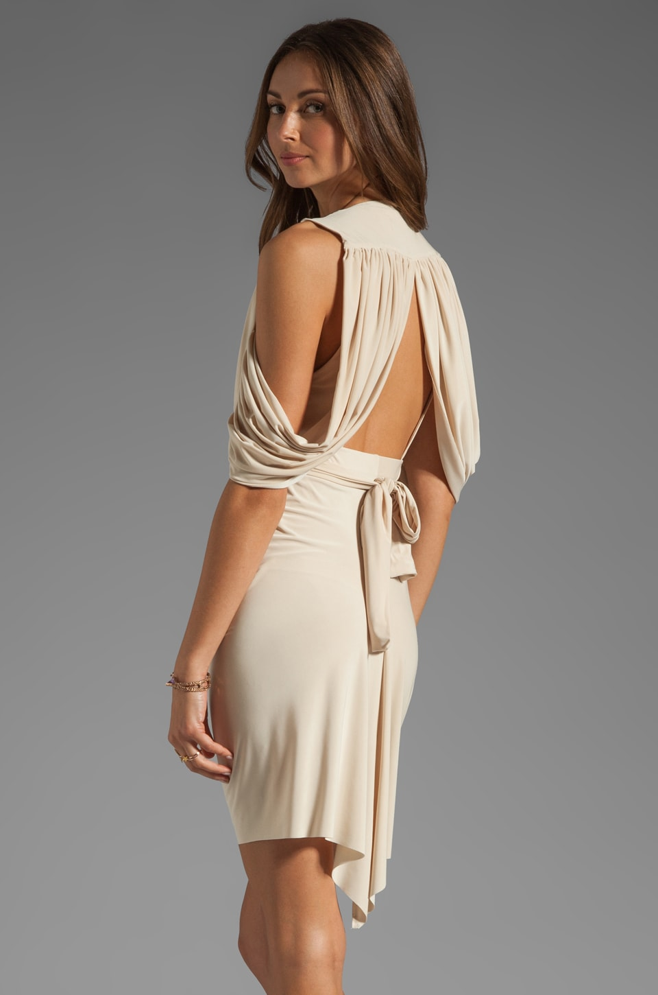 T-Bags LosAngeles Drape Back Dress in Cream