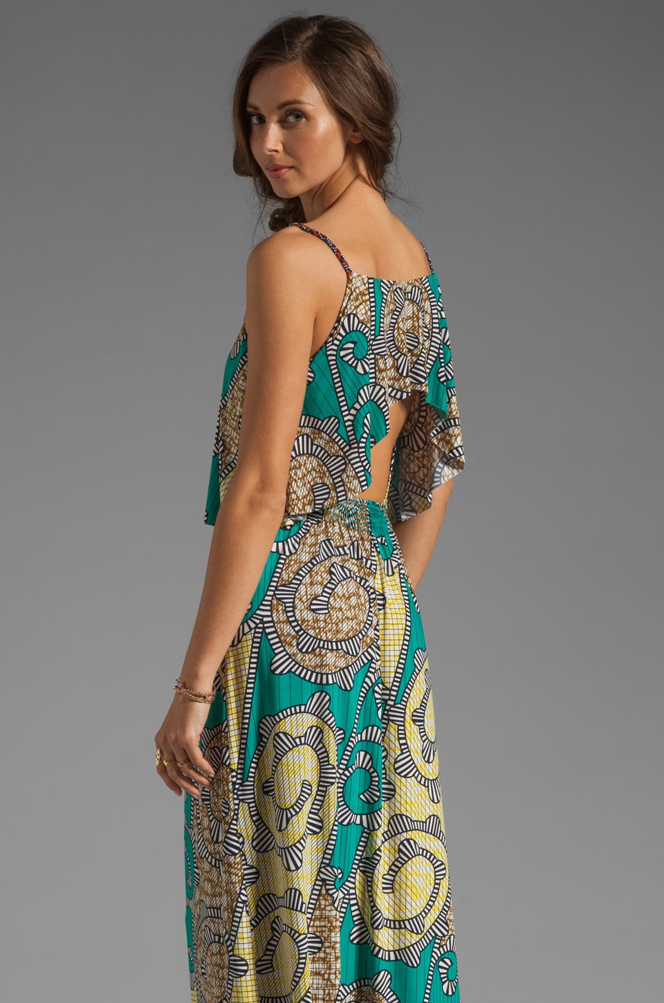 T-Bags LosAngeles Cut Out Back Maxi in Aqua Multi