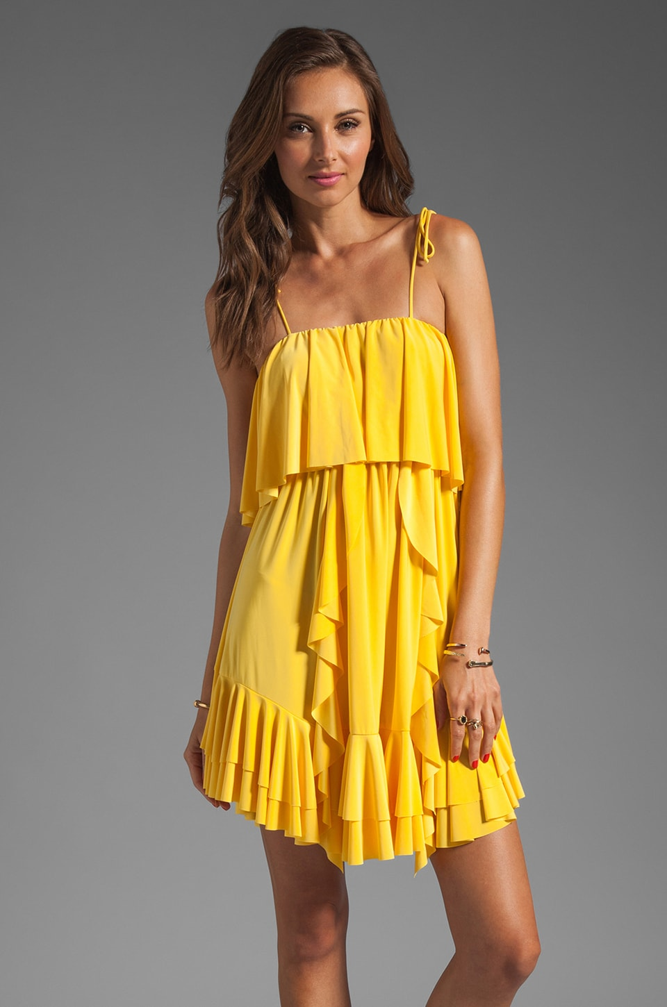 T-Bags LosAngeles Ruffle Front Mini in Yellow