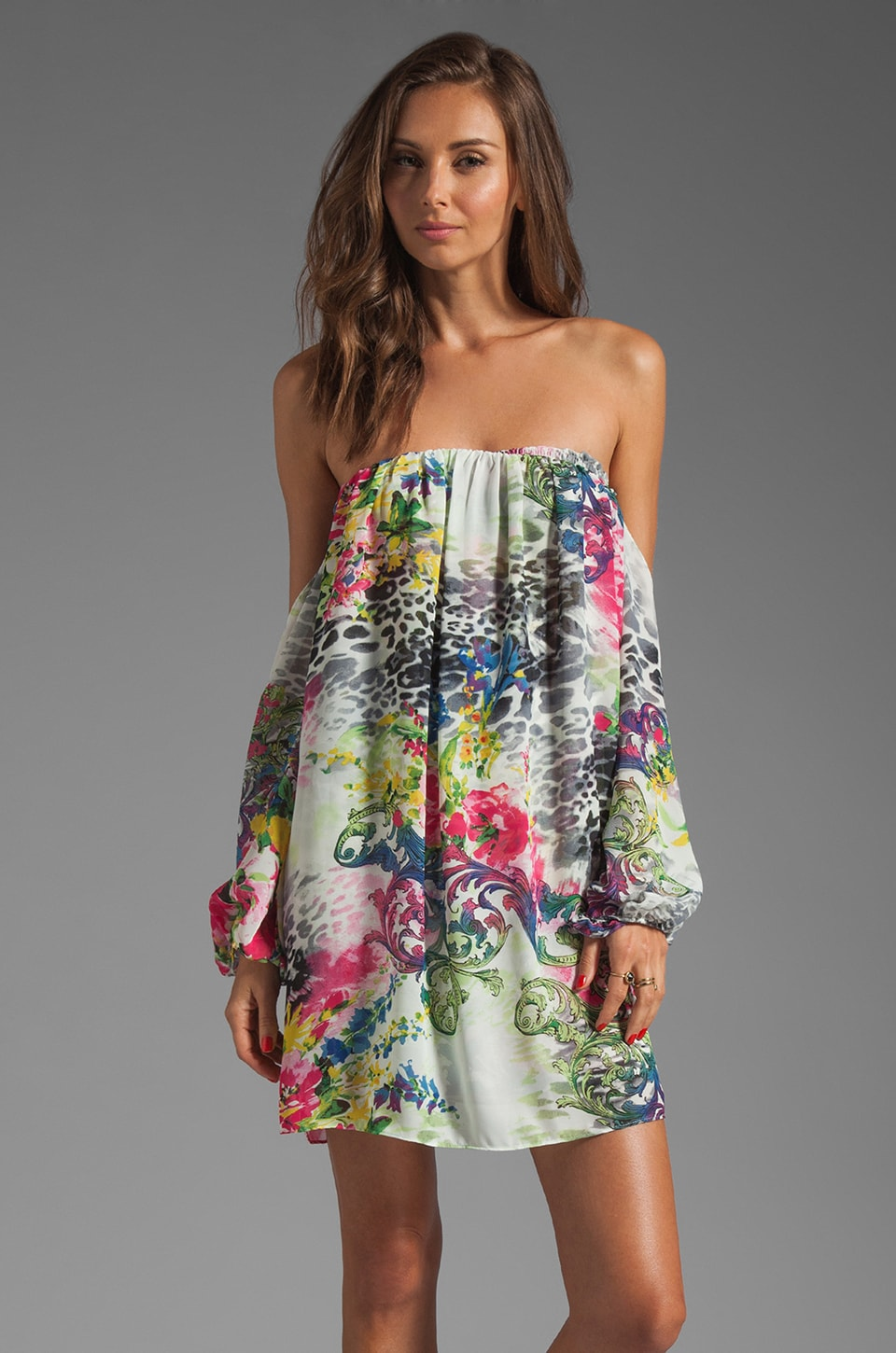 T-Bags LosAngeles Cut Out Sleeve Dress in Floral