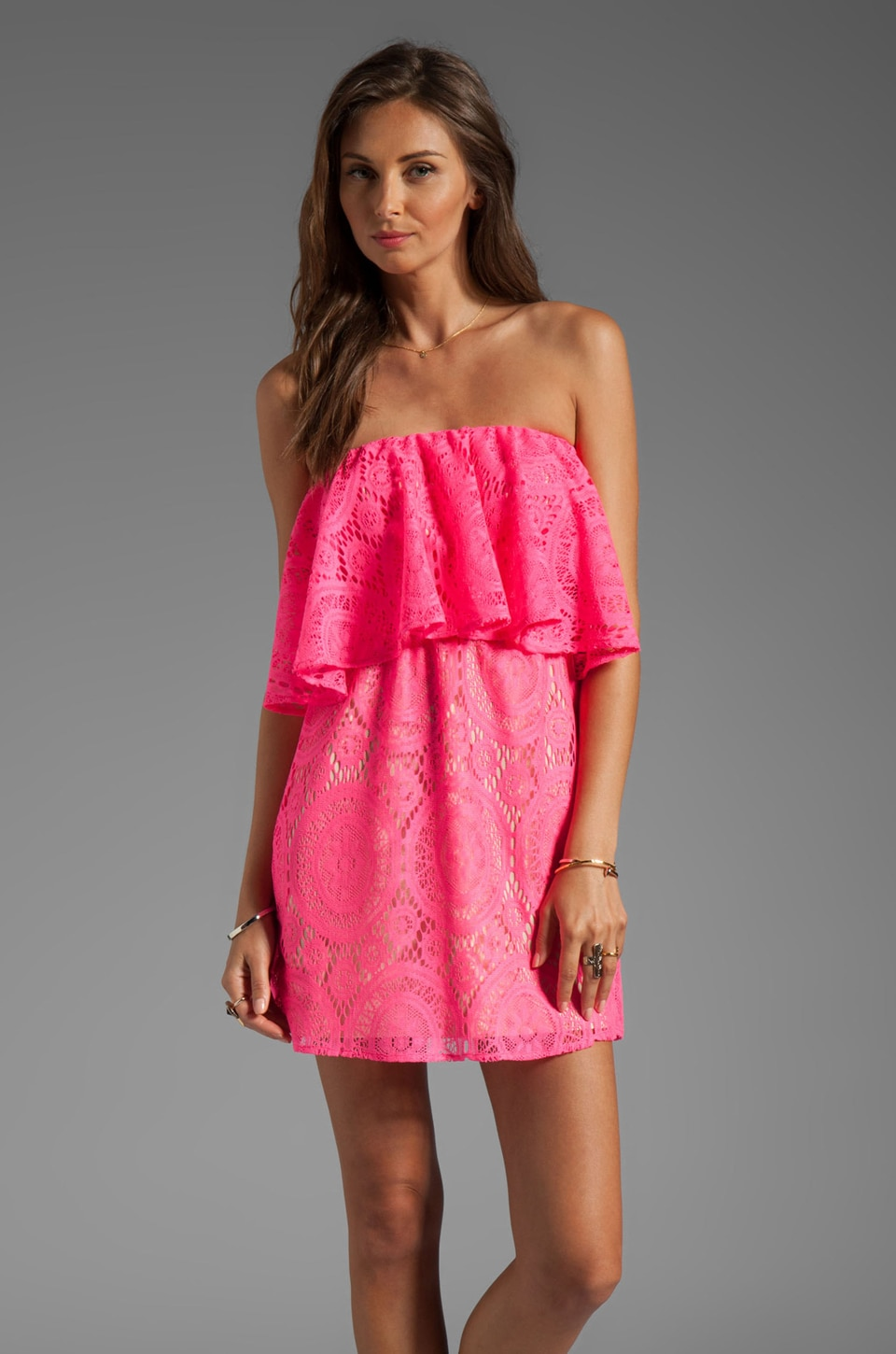 T-Bags LosAngeles Tiered Strapless Crochet Mini Dress in Neon Fuchsia