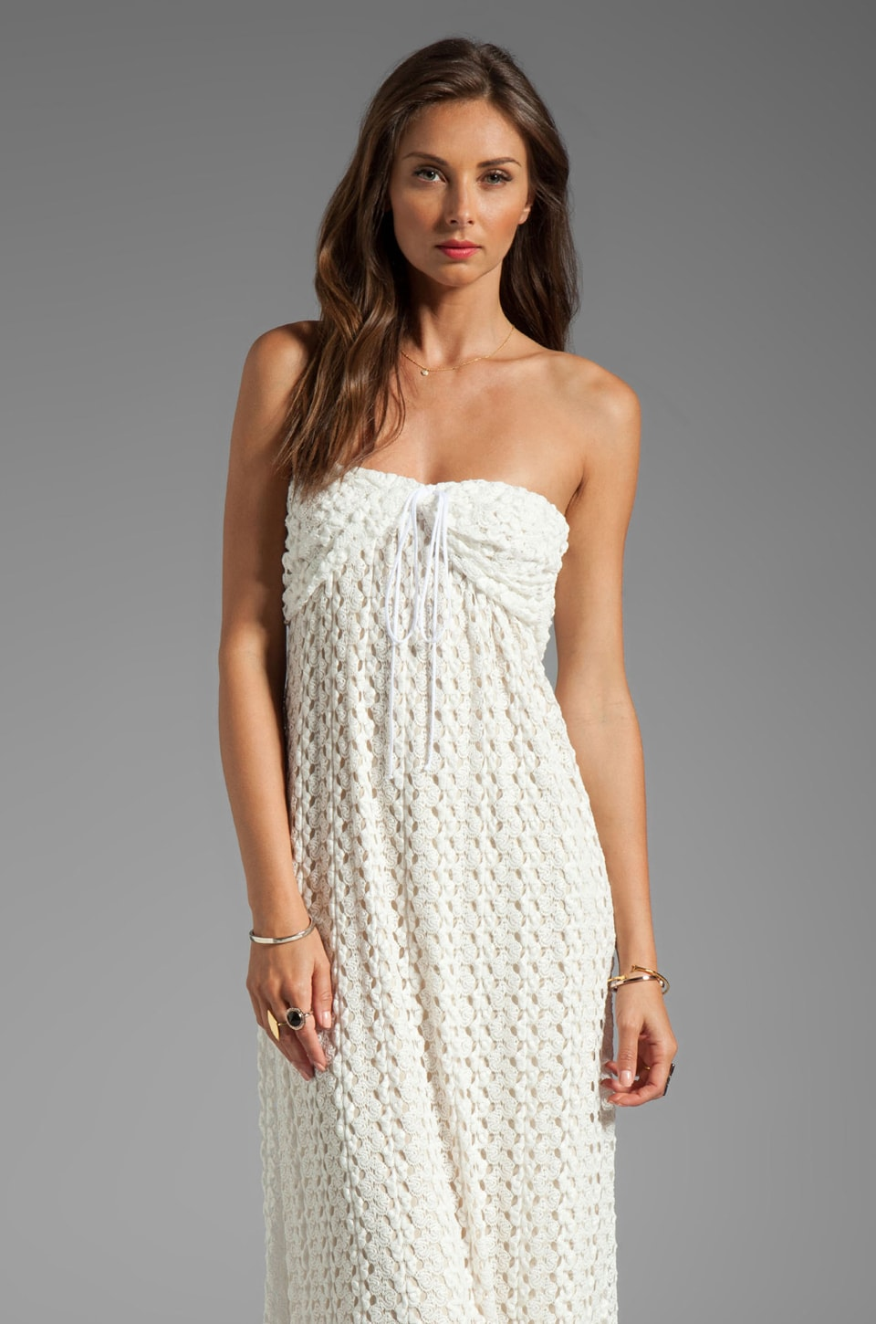 T-Bags LosAngeles Strapless Crochet Maxi Dress in Ivory