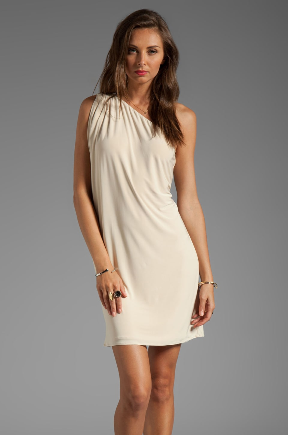 T-Bags LosAngeles One Shoulder Mini Dress in Cream