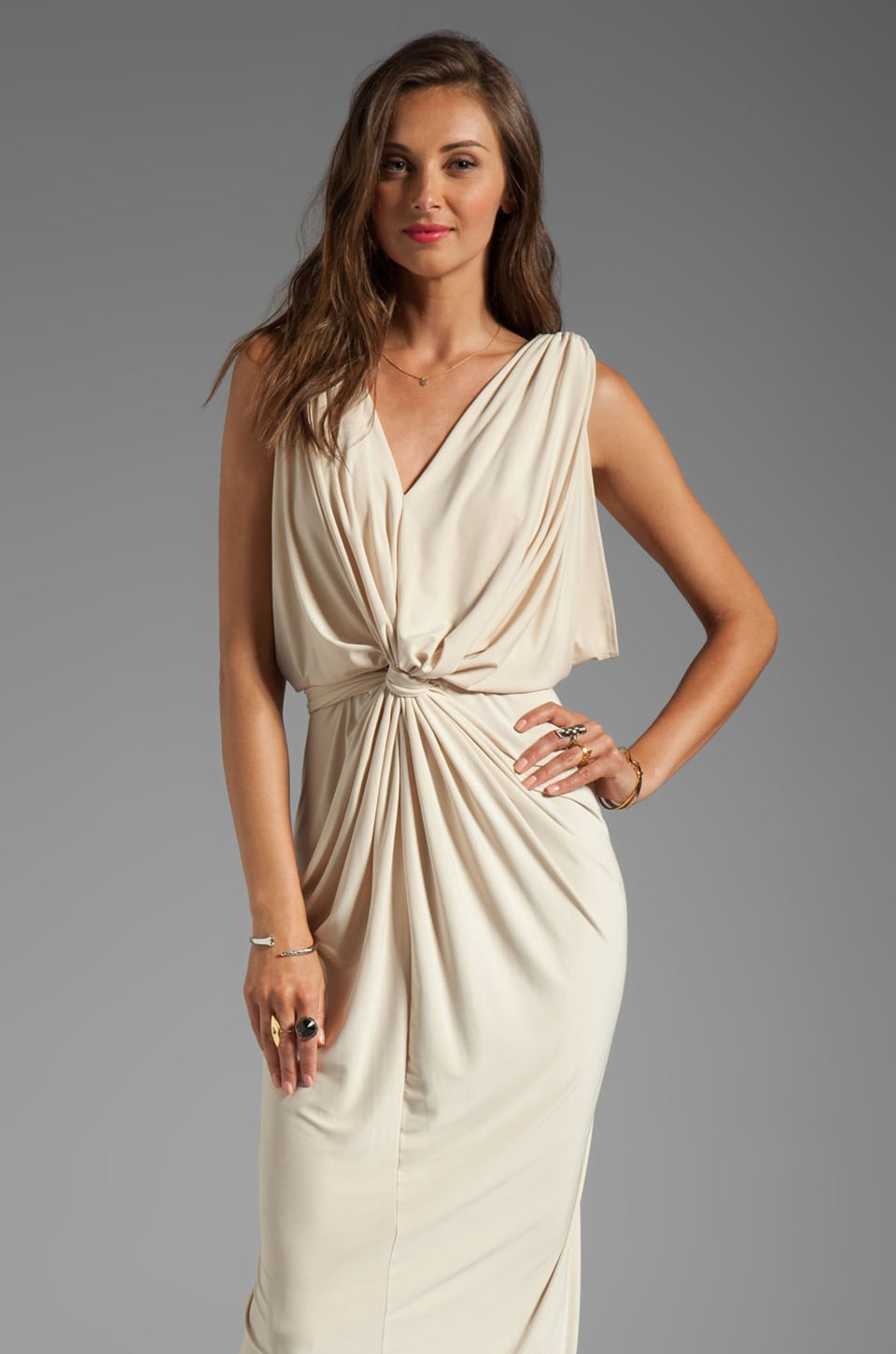 T-Bags LosAngeles Drape Sleeve Maxi Dress in Cream