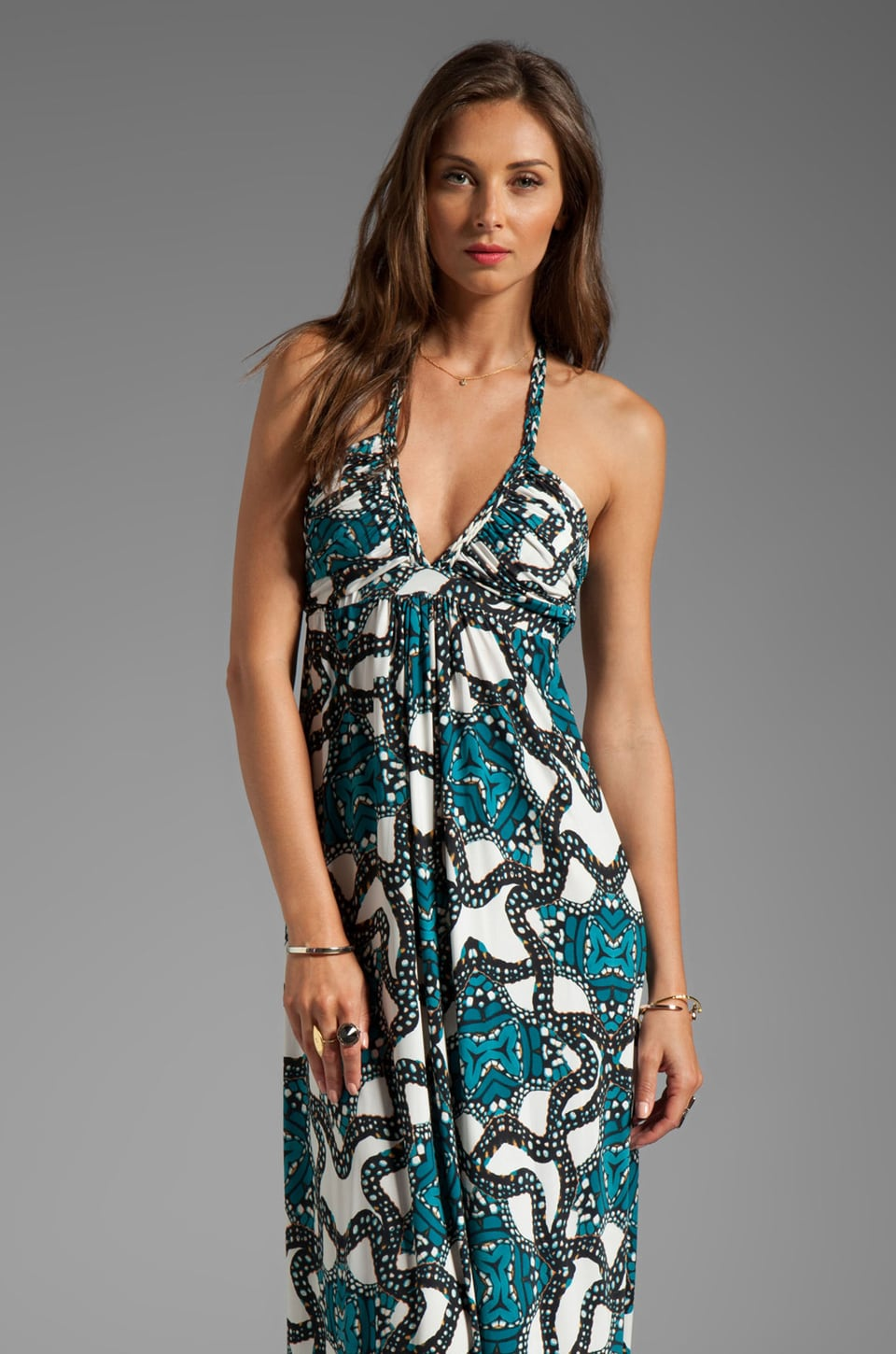 T-Bags LosAngeles Deep V Maxi Dress in Oceanic