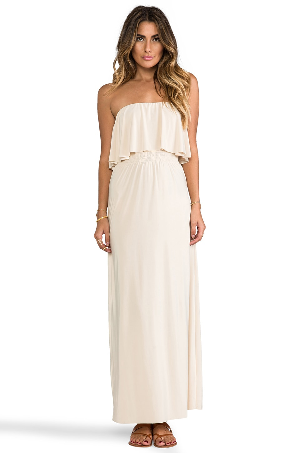 T-Bags LosAngeles Strapless Tiered Maxi in Cream