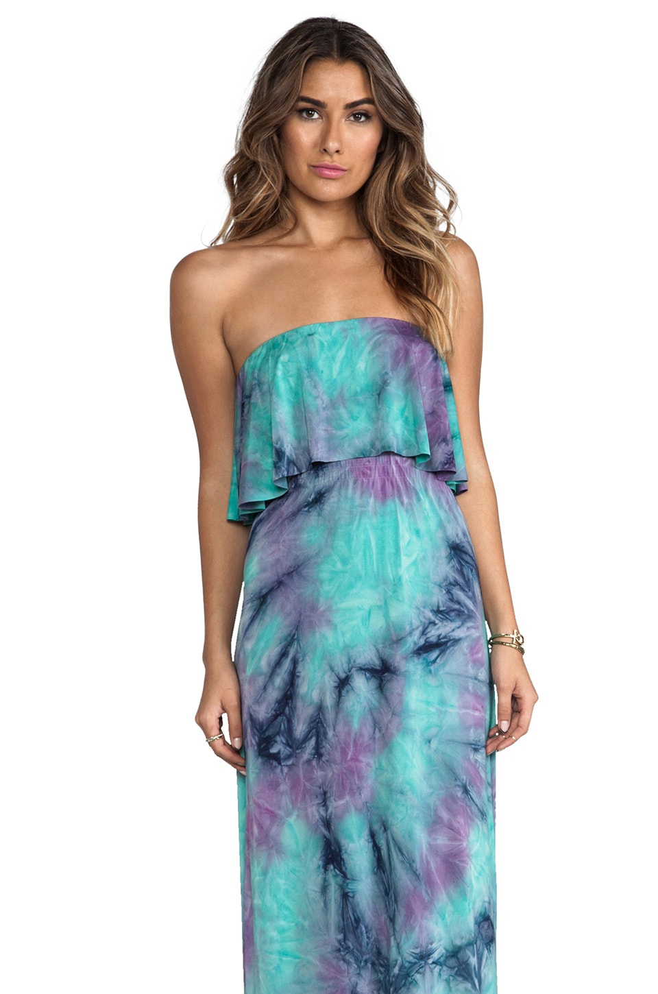 T-Bags LosAngeles Strapless Tiered Maxi in Lavender Mix Tie Dye