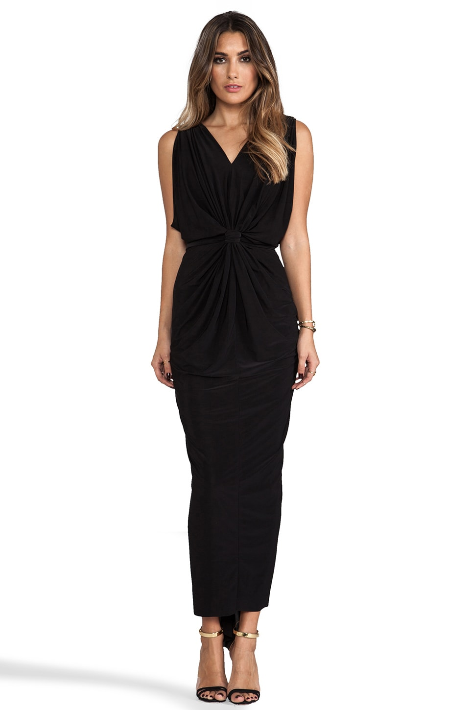 T-Bags LosAngeles Draped Sleeve Maxi Dress in Black