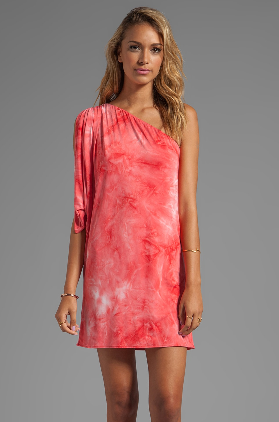 T-Bags LosAngeles One Shoulder Mini Dress in Coral Tie Dye