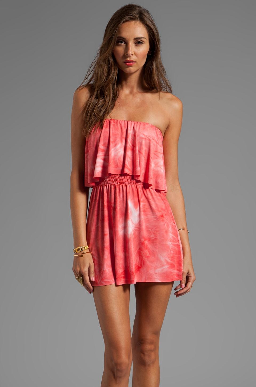 T-Bags LosAngeles Strapless Cutout Mini Dress in Coral Tie Dye
