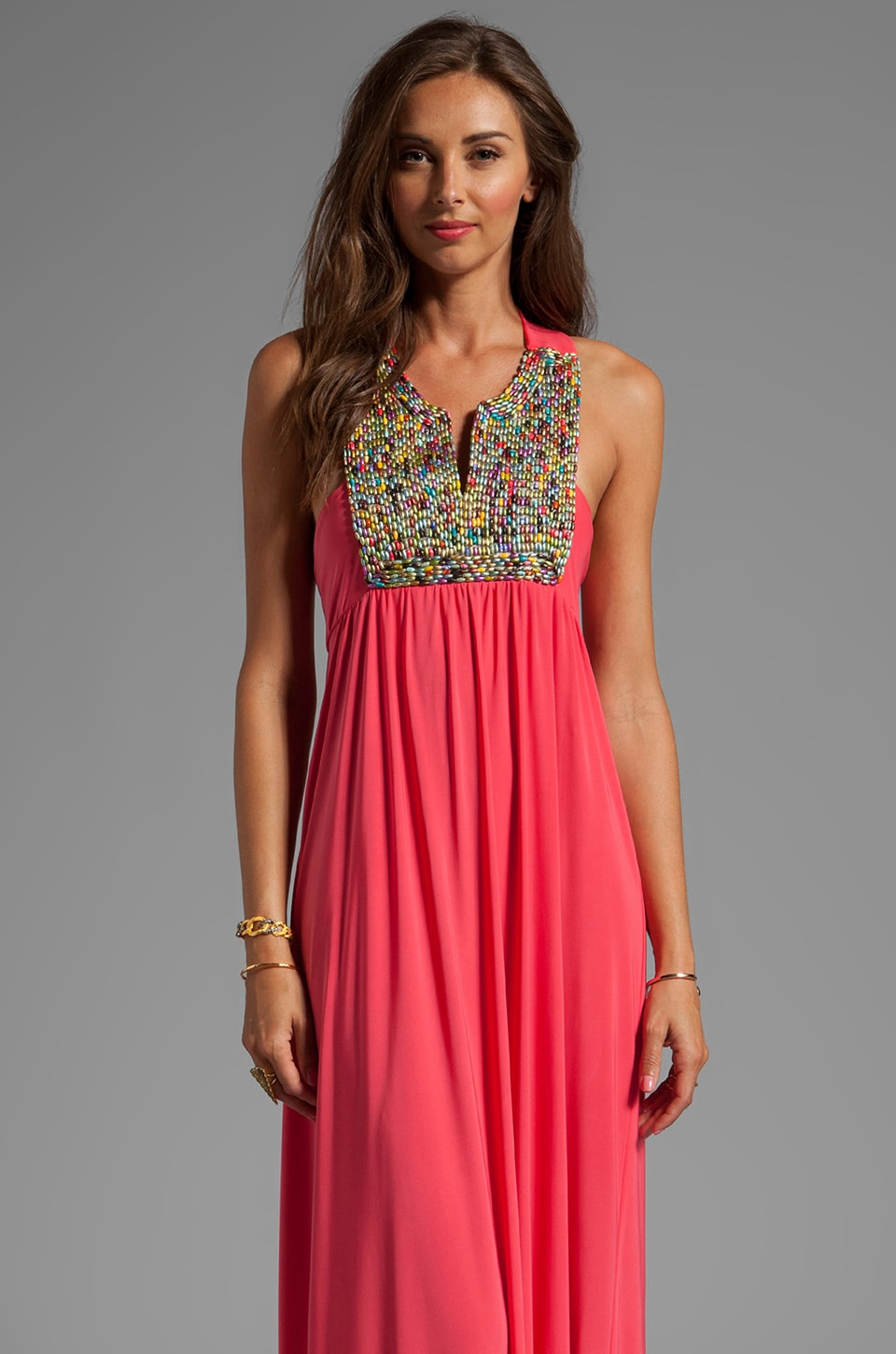 T-Bags LosAngeles Embellished Tribal Maxi Dress in Coral