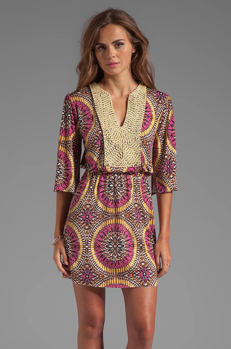 T-Bags LosAngeles Mini Caftan Dress in Warm Medallion