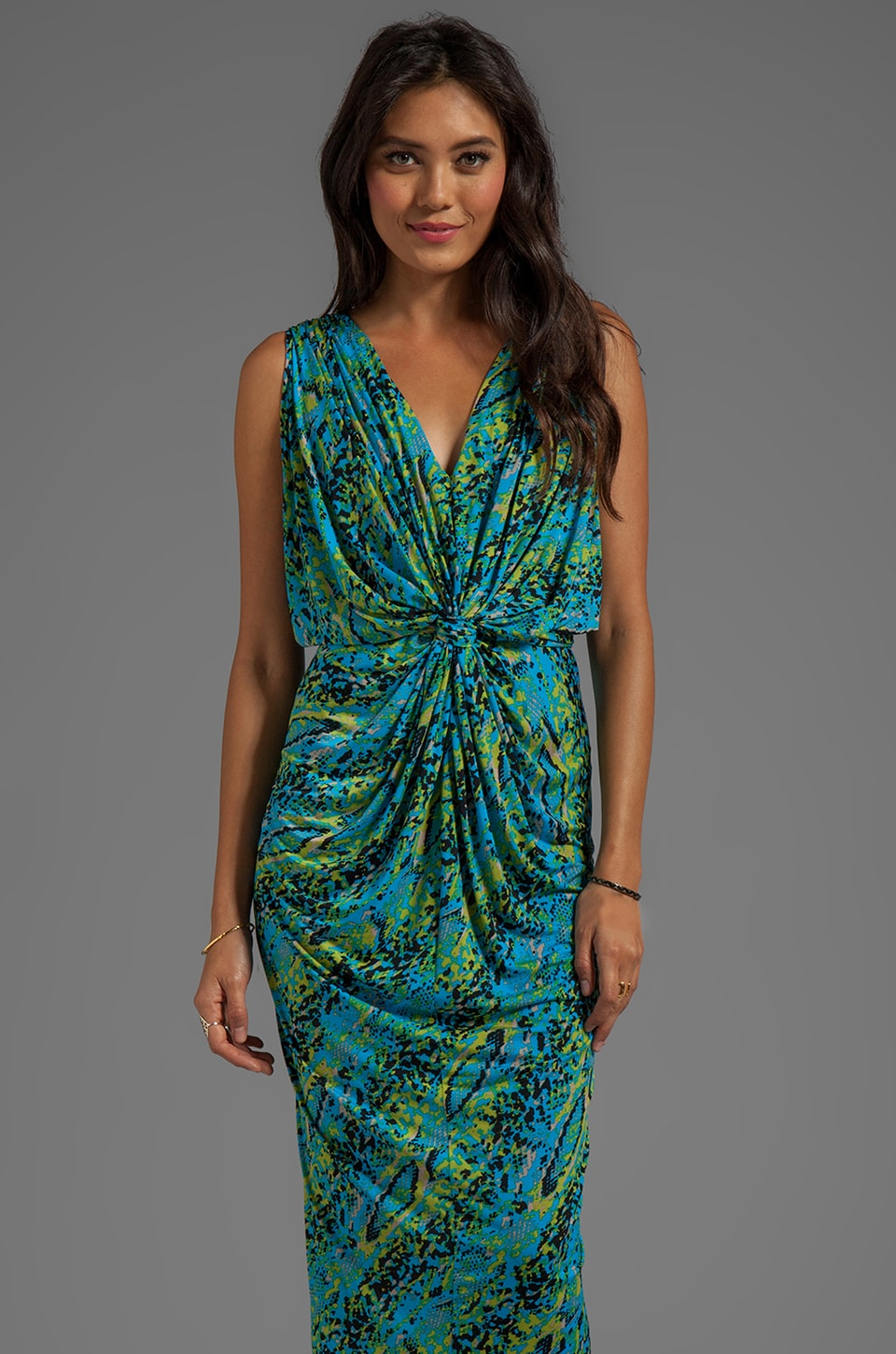 T-Bags LosAngeles Drape Sleeve Maxi Dress in Aqua Snake
