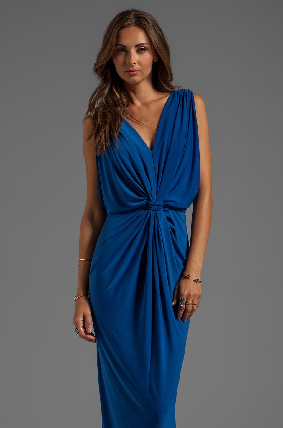 T-Bags LosAngeles Draped Sleeve Maxi Dress in Royal