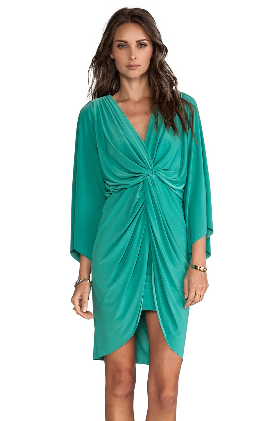 T-Bags LosAngeles Long Sleeve Knot Dress in Eucalyptus