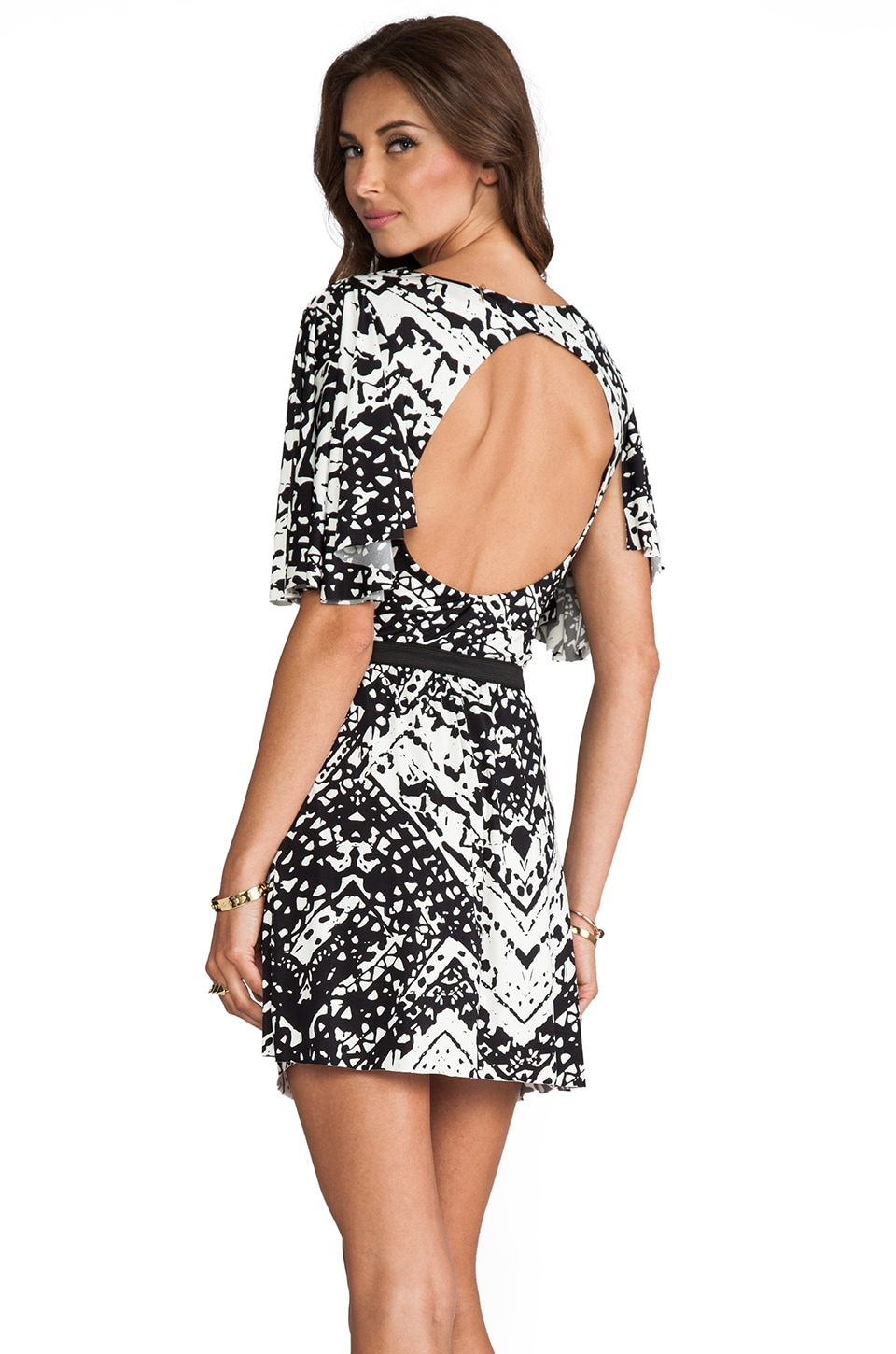 T-Bags LosAngeles Circle Cut Out Dress in Black/White Chevron