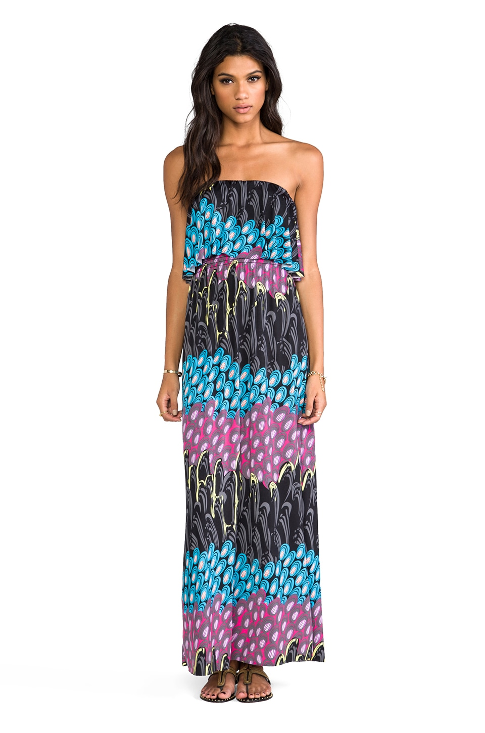 T-Bags LosAngeles Strapless Maxi Dress in Electric Peacock