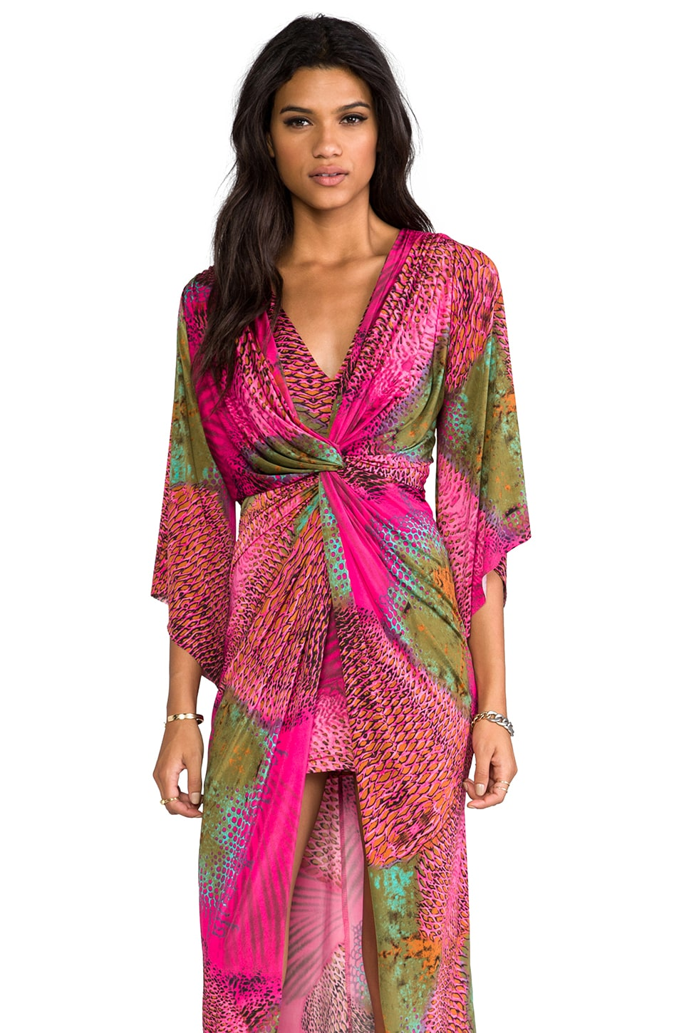 T-Bags LosAngeles Long Sleeve Knot Maxi Dress in Hot Pink Feather