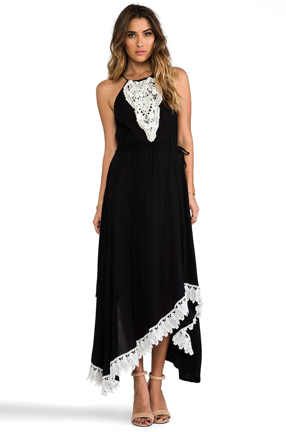 T-Bags LosAngeles Embroidered Maxi Dress in Black