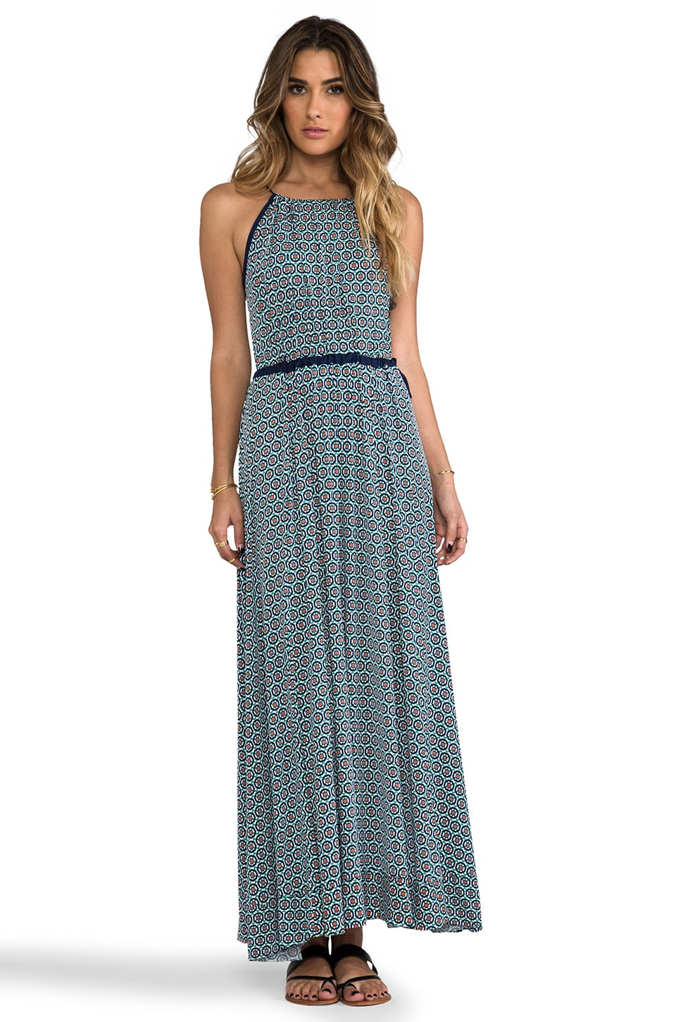 T-Bags LosAngeles Tank Maxi Dress with Tonal Hem in Greek Print