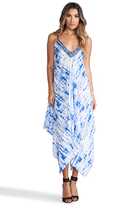 T-Bags LosAngeles Embellished Asymmetrical Maxi Dress with Tonal Hem in Blue Tie Dye