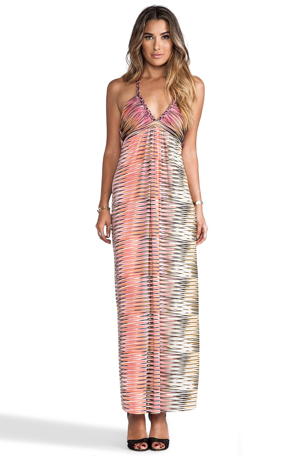 T-Bags LosAngeles Criss Cross Back Maxi Dress with Tonal Hem in Coral Zig Zag