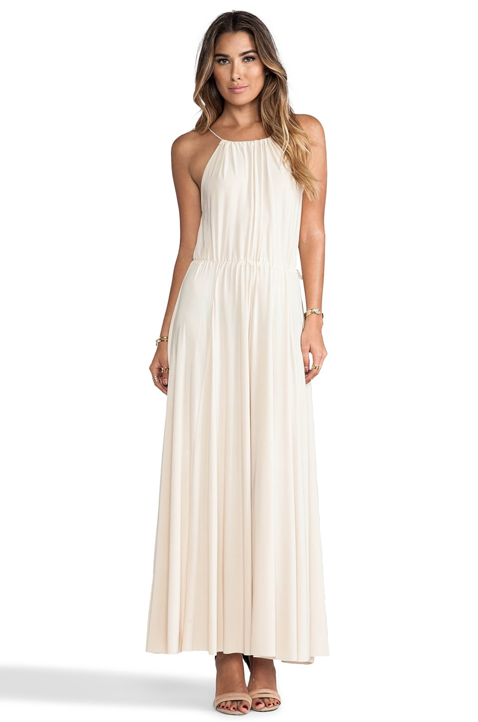 T-Bags LosAngeles Tank Maxi Dress with Tonal Hem and Trim in Cream