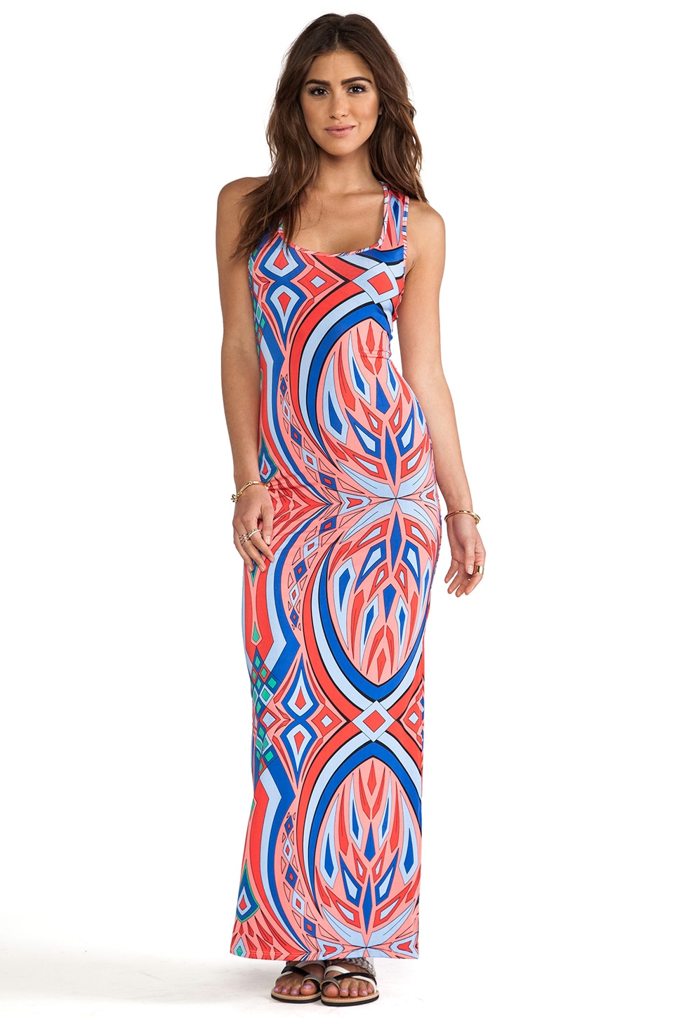 T-Bags LosAngeles Maxi Tank Dress in Pink Kaleidoscope