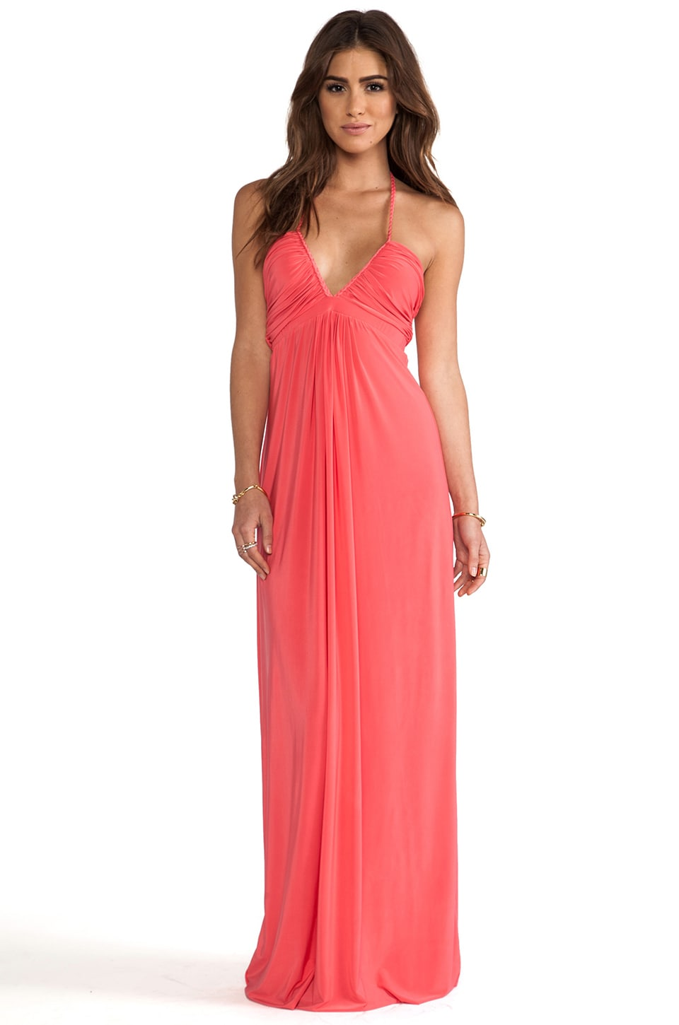 T-Bags LosAngeles Maxi Halter Dress in Coral