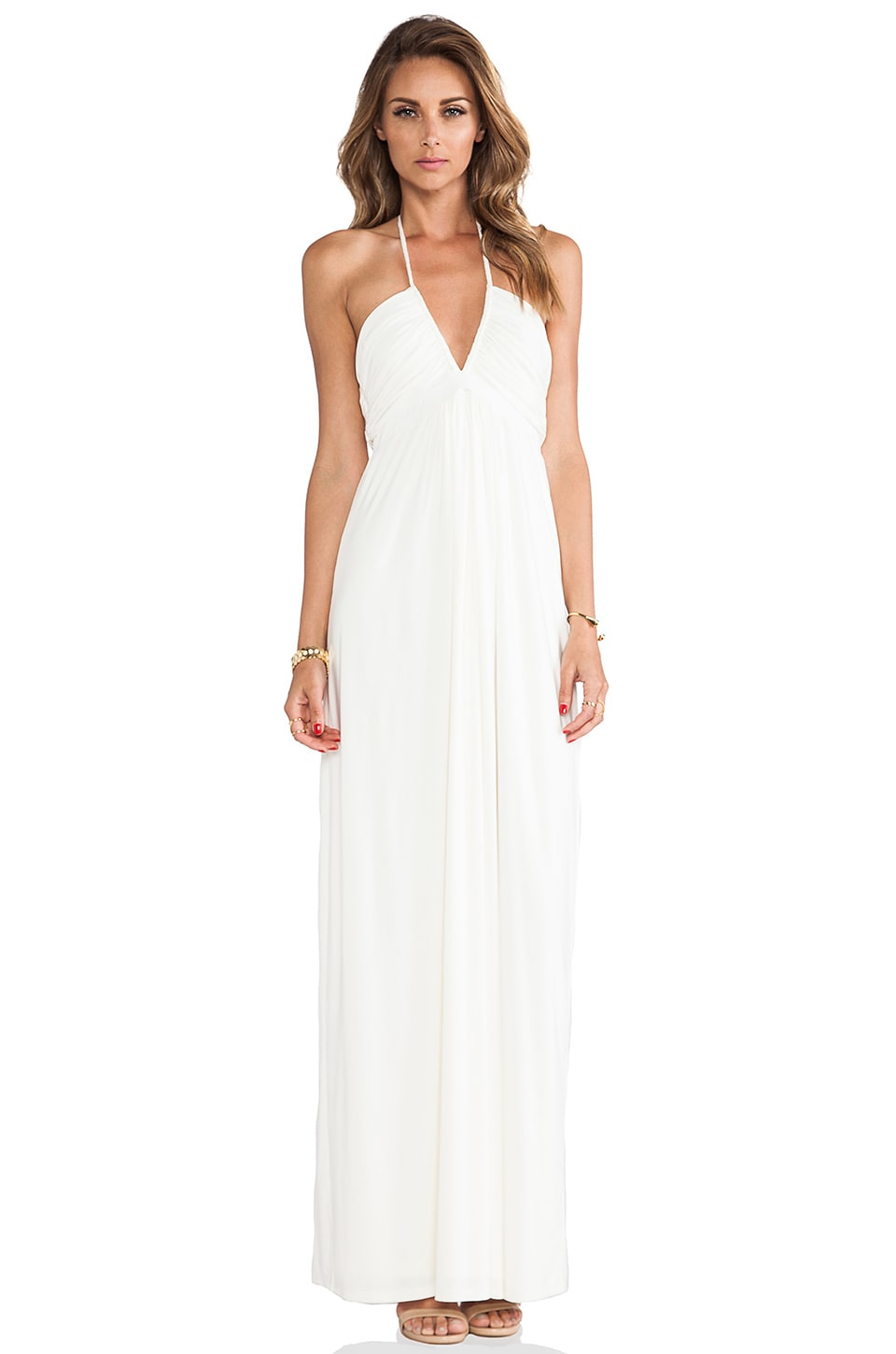 T-Bags LosAngeles Halter Maxi Dress in White