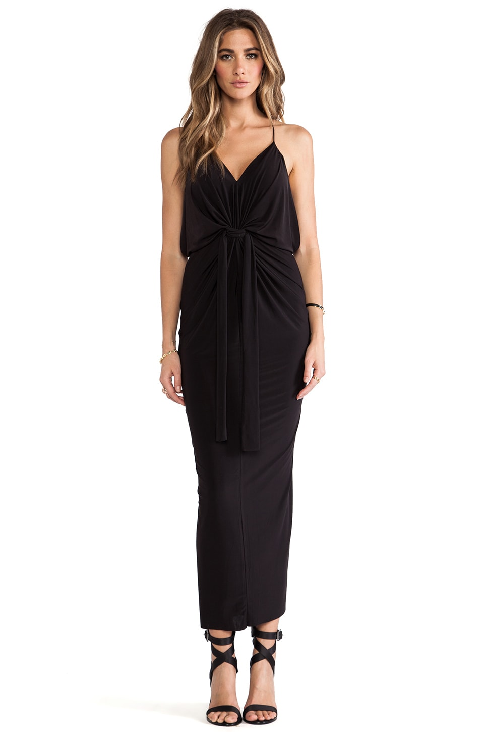 T-Bags LosAngeles Domino Tie Front Maxi Dress in Black